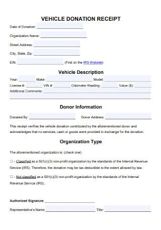 Vehicle Donation Receipt