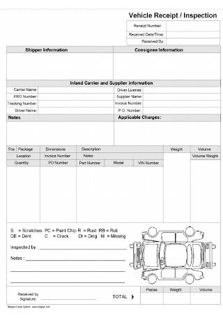Vehicle Inspection Receipt Template