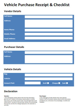 Vehicle Purchase Receipt and Checklist