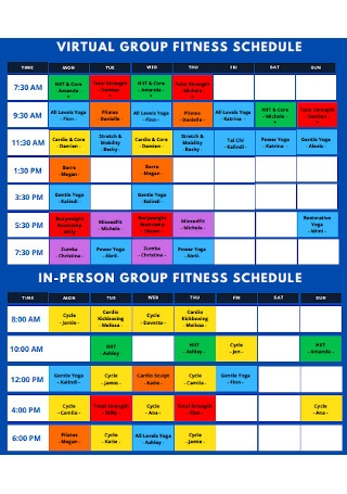 Virtual Group Fitness Schedule