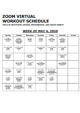 Virtual Workout Schedule Template