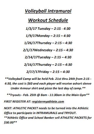 Volleyball Intramural Workout Schedule