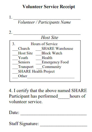Volunteer Service Receipt