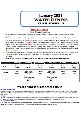 Water Fitness Class Schedule
