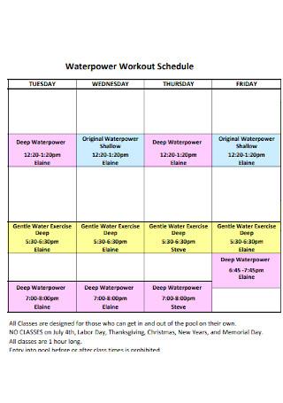 Waterpower Workout Schedule