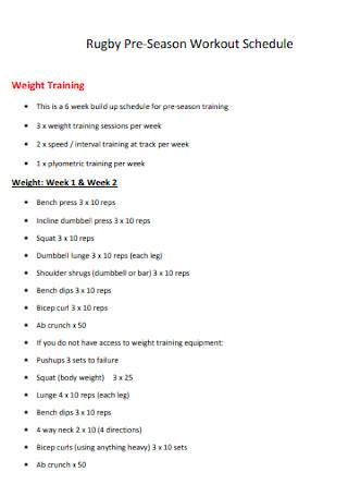 Weight Workout Schedule