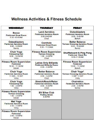 Wellness Activities and Fitness Schedule