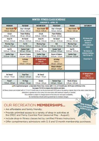 Winter Fitness Class Schedule