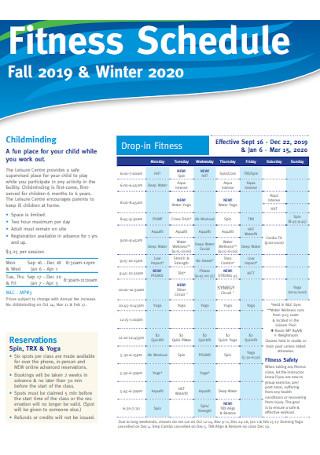 Winter Fitness Schedule