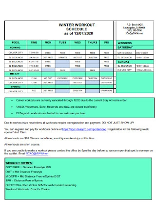 Winter Workout Schedule