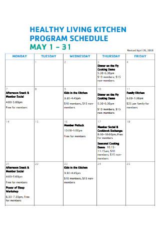 living kitchen Program Schedule
