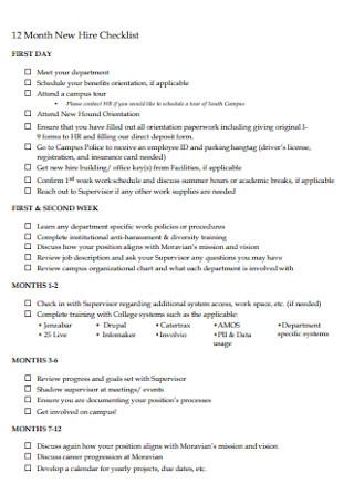 2 Months New Hire Checklist