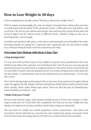 30 Day Vegetarian Meal Plan
