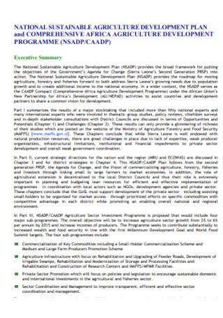 Agriculture Development Plan