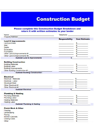 Bank Construction Budget