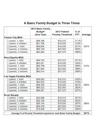 Basic Family Budget Example