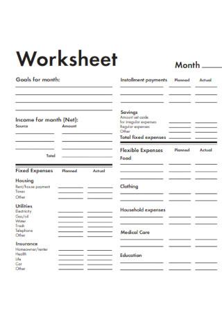 Basic Household Budget Worksheet