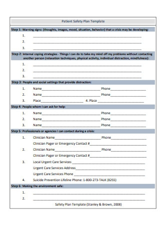 Basic Patient Safety Plan Template