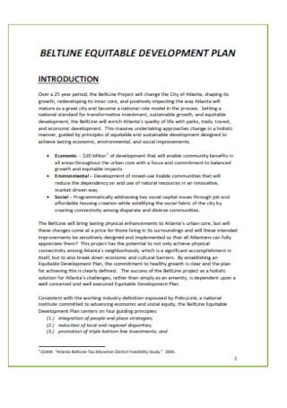 Beltune Equitable Development Plan