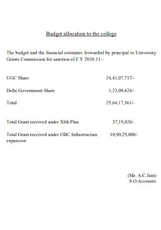Budget Allocation to the College