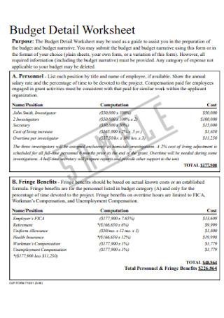 Budget Detail Worksheet