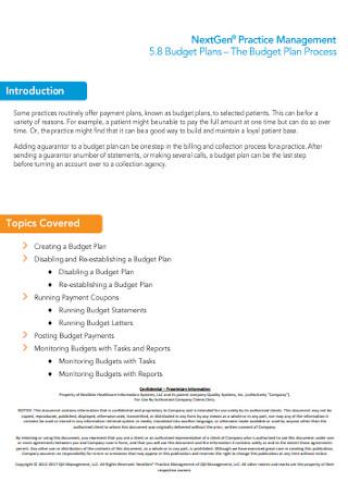 Budget Management Plan Template