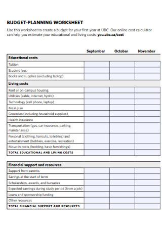 Budget Planning Worksheet