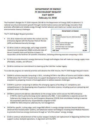 Budget Request Fact Sheet