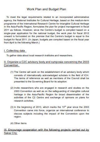 Budget Work Plan Template