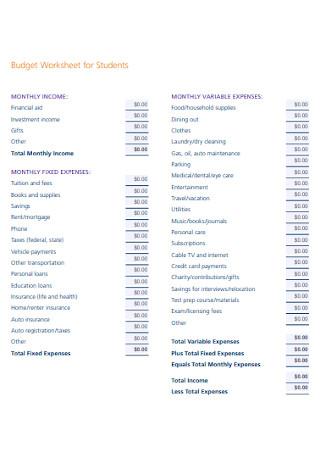 Budget Worksheet for Students