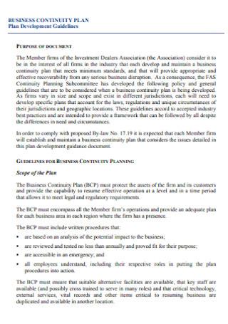 Business Continuity Development Plan