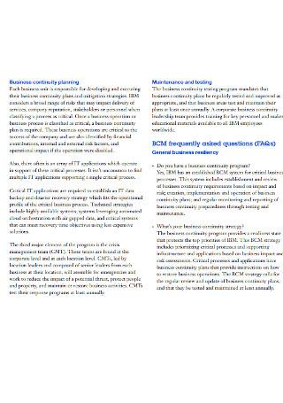 Business Continuity Leadership Plan