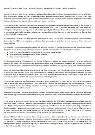 Business Continuity Management Framework Plan