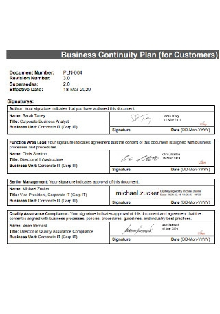 Business Continuity Plan for Customers
