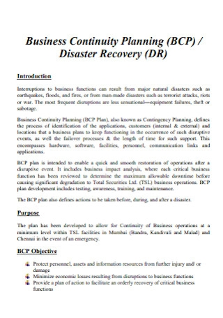 Business Continuity Plan for Disaster Recovery