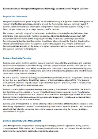 Business Continuity Program Plan