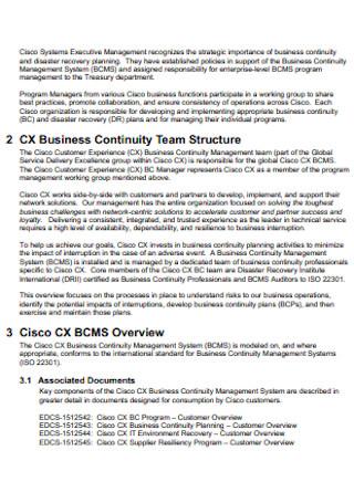 Business Continuity Team Plan