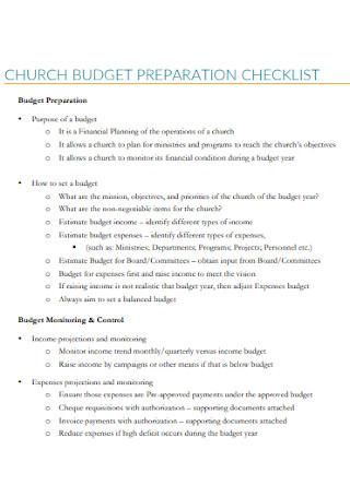 Church Budget Preparatin Checklist
