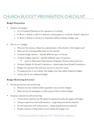 Church Budget Preparation Checklist