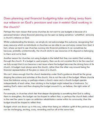 Church Planning Budget Template