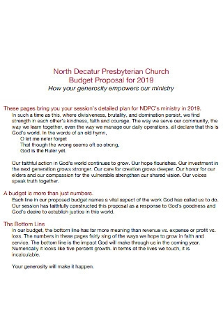 Church Proposal Budget Template