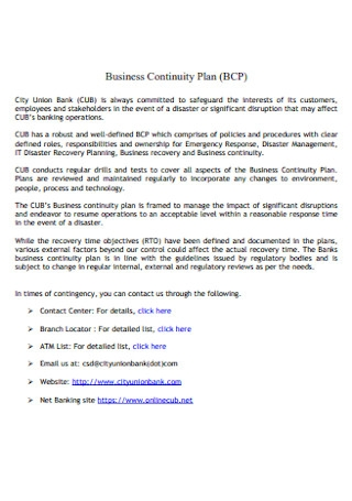 City Bank Business Continuity Plan