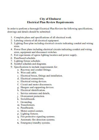 City of Elmhurst Electrical Plan