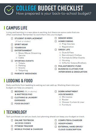 College Budget Checklist Template