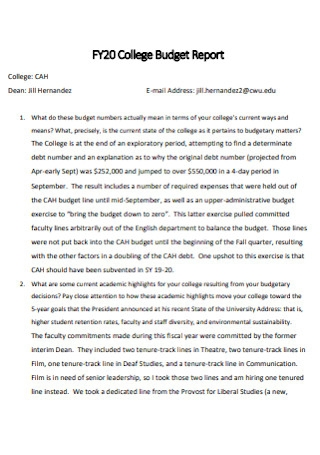 College Budget Report