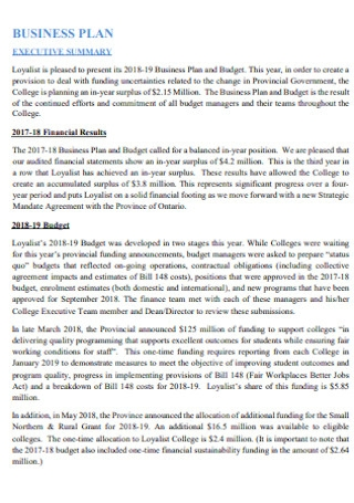 College Business Budget Template