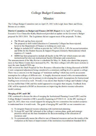 College Committee Budget Template