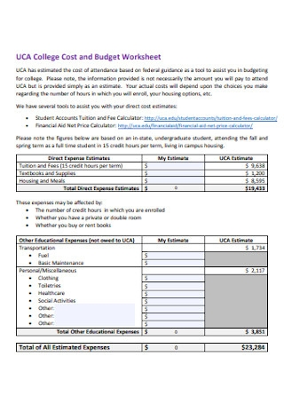 College Cost and Budget Worksheet