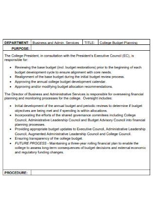 College Planning Budget