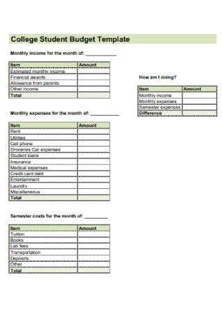 College Student Budget Template